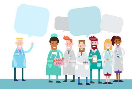 apoyo social: Grupo Medial médicos Equipo de Trabajo con copia espacio de la charla de la burbuja Ilustración vectorial