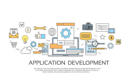 coder: Application Development Create Design Site Programming Coding Set Icon Collection Vector Illustration Illustration