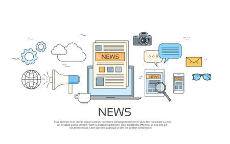 announcement icon: News Icons, Newspaper, Tablet Smart Phone Paper Web Banner Set Vector Illustration