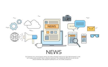 Nieuws Iconen, krant, Tablet Smart Phone Paper Web Banner Set Vector Illustration Stock Illustratie