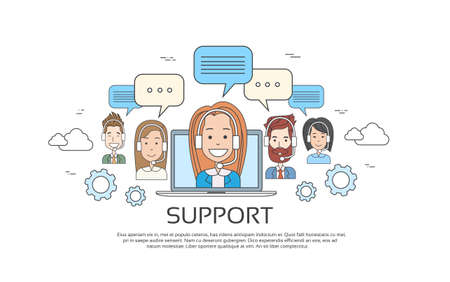 Support Concept Business People Group Technical Team On Line Chat Vector Illustration Illustration
