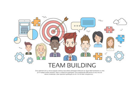 coworker banner: Team Building Concept Business Person Profile Thin Line Banner Icon Vector Illustration