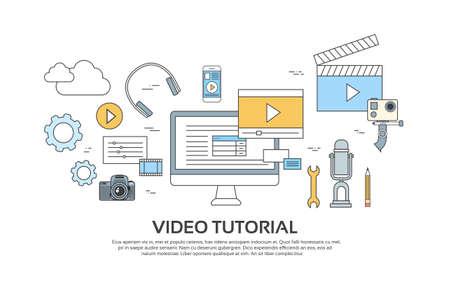 Video Tutorial Editor Concept Modern Technology Banner Icons Vector Illustration Vettoriali