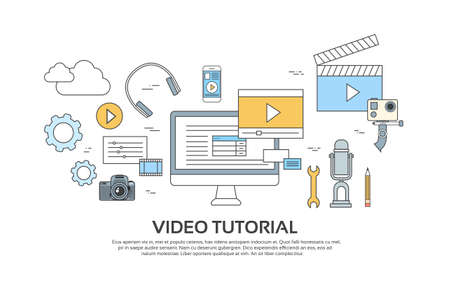 Video Tutorial Editor Concept Modern Technology Banner Icons Vector Illustration Çizim
