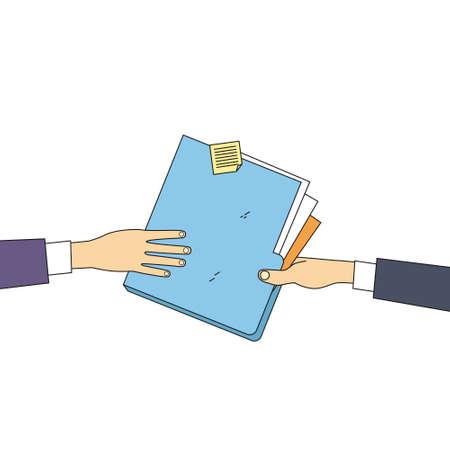 share information: Hands Give Folder Document Papers, Concept Businessmen Share Information Data Icon Vector Illustration Illustration