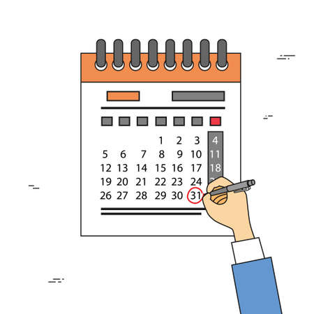 last day: Calendar Hand Draw Pen Red Circle Date Last Day Month Deadline Vector Illustration
