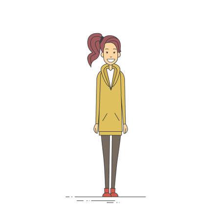 length: Young Girl Hipster Casual Clothes Full Length Vector Illustration