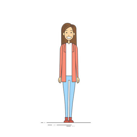 full length: Young Girl Hipster Casual Clothes Full Length Vector Illustration
