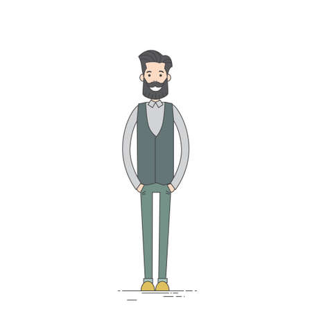 length: Young Man Hipster Casual Clothes Full Length Vector Illustration