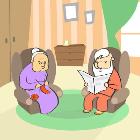 old man sitting: Old Couple Sitting In Armchair, Senior Lady Knitting, Man Reading Newspaper Vector Illustration