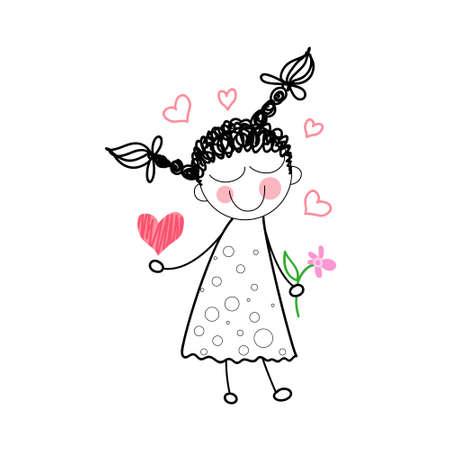 simple girl: Girl Holding Flower Red Heart Shape Love Drawing Simple Line Vector Illustration Illustration