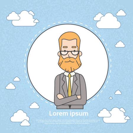 owner: Senior Businessman Boss Business Owner Profile Frame Vector Illustration