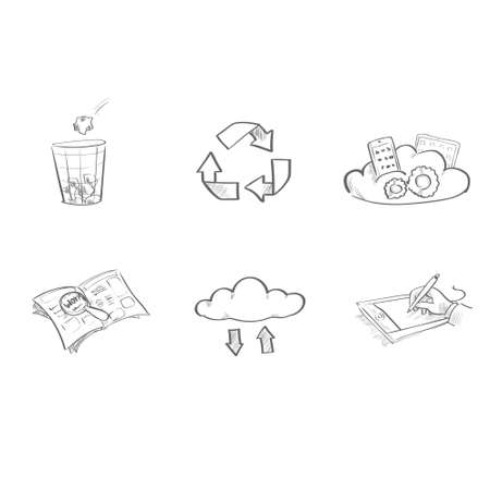application recycle: Application Sketch Logo Icons Set Collection Vector Illustration