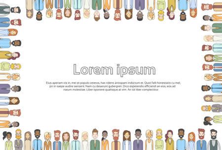 people in line: Casual Business People Group Square Frame Empty Copy Space Businesspeople Crowd Thin Line Concept Vector Illustration