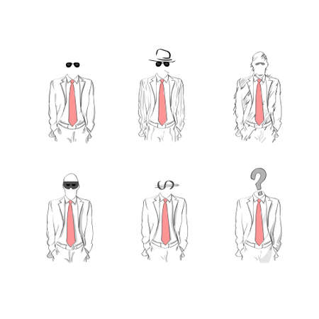 red tie: Man Black Silhouette Suit Red Tie Wear Glasses Hat Businessman Sketch Set Collection Vector Illustration