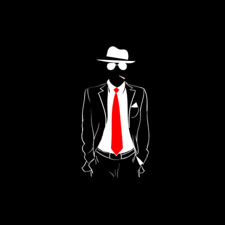 red tie: Man Silhouette Suit Red Tie Wear Glasses White Hat Black Background Vector Illustration