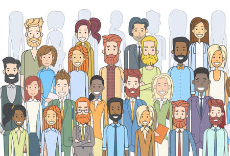 Group of Business People Face Big Crowd Businesspeople Diverse Ethnic Vector Illustration 矢量图像