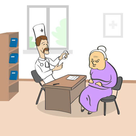 old office: Old Lady Visiting Doctor Sitting in Medical Office Vector Illustration