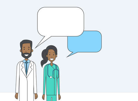 chat box: African American Medial Doctors With Copy Space Chat Box Vector Illustration