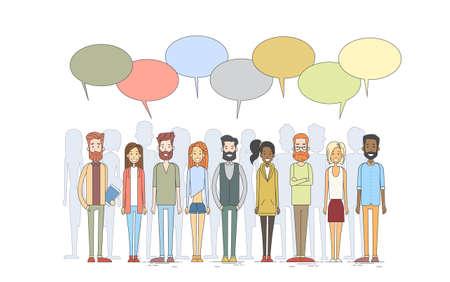 Personnes Groupe Jeune Homme Femme Hipster vêtements décontractés attendre en ligne Chat Box Vector Illustration
