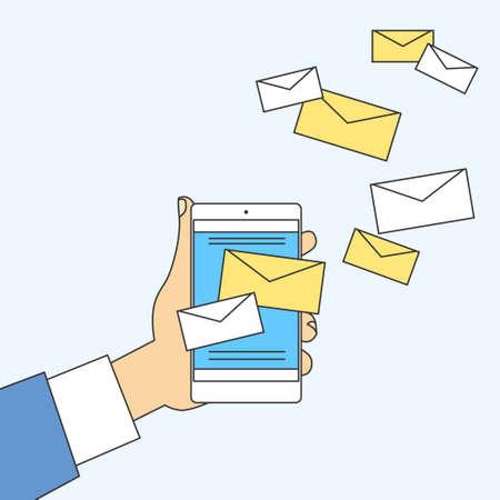 smart phone hand: Hand Cell Smart Phone Envelope Send Business Mail Vector Illustration