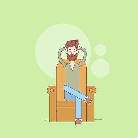 Man Beard si siede in poltrona rilassante Illustrazione casa confortevole Thin Line vettoriale Vettoriali