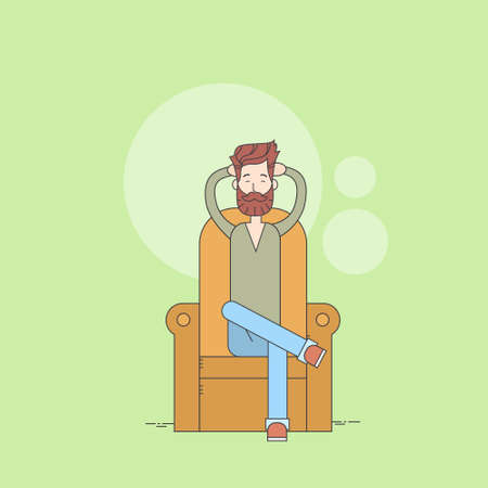 Man Beard Sitting In Armchair Relaxing Comfort Home Thin Line Vector Illustration
