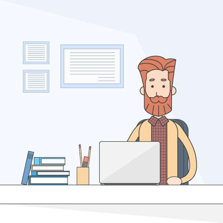 casual business man: Casual Business Man Sitting Desk Working Laptop Computer Vector Illustration