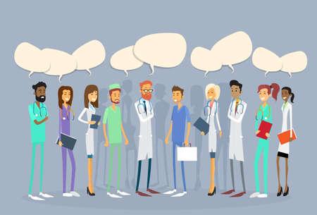 medicate: Group Medial Doctors Team Chat Bubble Communication Flat Vector Illustration Illustration