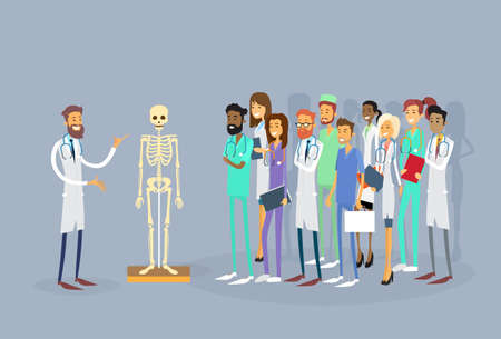 clinic: Medical Doctors Group People Intern Lecture Human Body Skeleton Study Vector Illustration