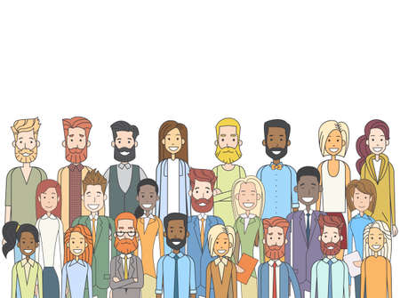 Group of Casual People Big Crowd Diverse Ethnic Vector Illustration 矢量图像