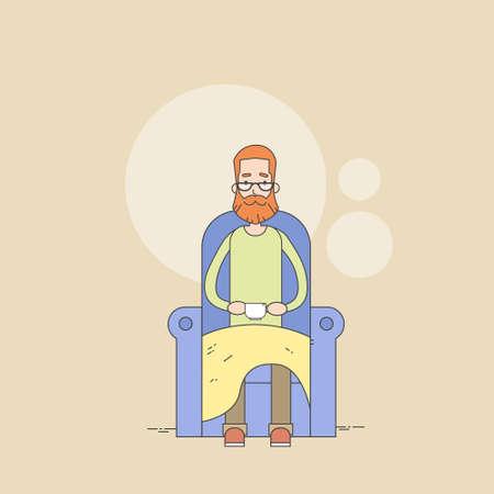 comfort: Man Beard Sitting In Armchair Holding Cup Tea Comfort Home Thin Line Vector Illustration