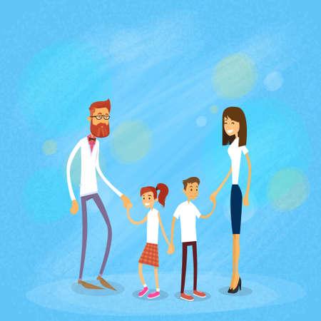 madre e hija adolescente: Familia feliz Cuatro personas, los padres con la ilustración de dos hijos plana vectorial