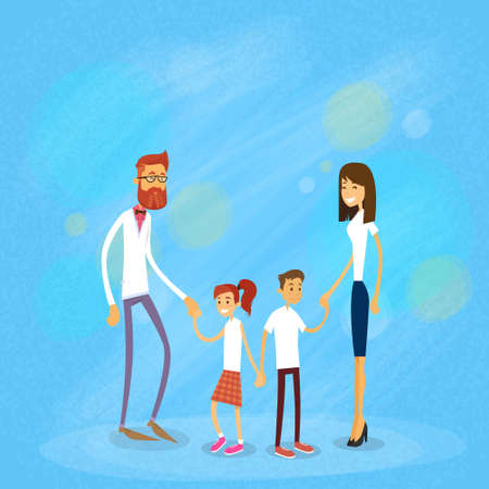 adolescent: Happy Family Four People, Parents With Two Children Flat Vector Illustration