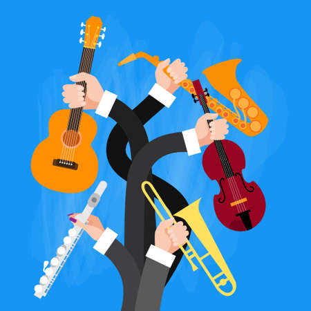 professional flute: Group Hands Holding Musical Instruments Flat Vector Illustration