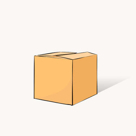 is closed: Box Closed Delivery Hand Draw Vector Illustration