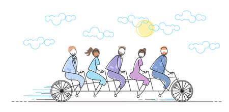 human resource: Business People Group Riding Bike Teamwork Concept Vector Illustration