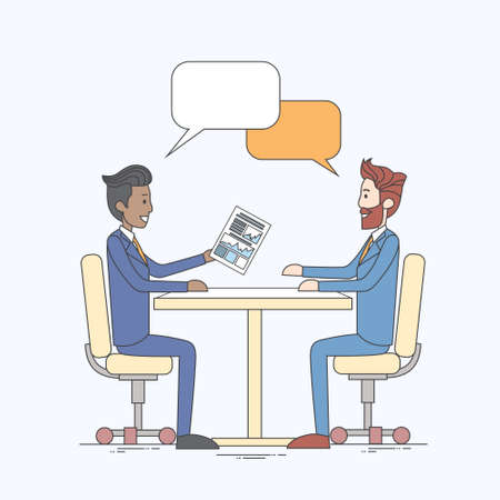 chat box: Two Business Man Talking Discussing Chat Box Bubble Communication Sitting at Office Desk Vector Illustration
