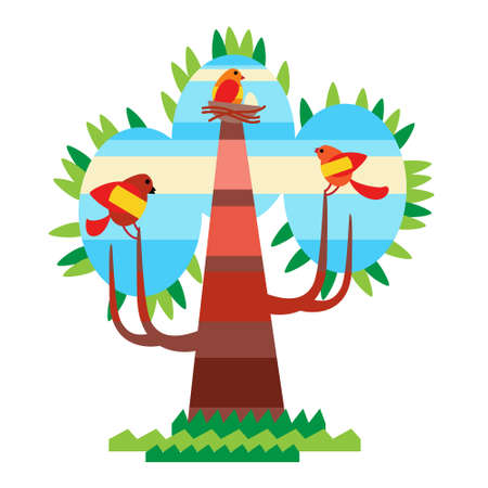 birds in a tree: Colorful Tree With Birds Flat Design Vector Illustration