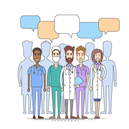 chat box: Medical Doctor Team Chat Box Communication Concept Vector Illustration Illustration