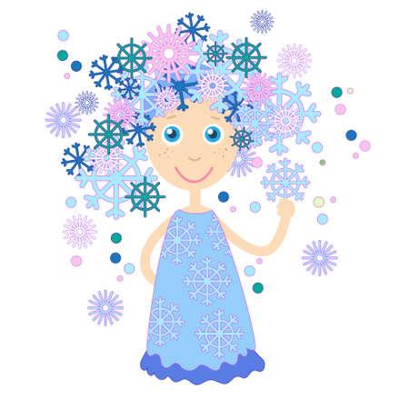 winter girl: Winter Cartoon Girl Snowflakes Hair Vector Illustration