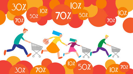 shopping sale: Family Shopping Run Trolley Sale Discount Vector Illustration
