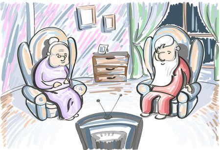 ver tv: Pareja de edad Hombre Mujer Ver TV Sit En la ilustración de la butaca del bosquejo del vector