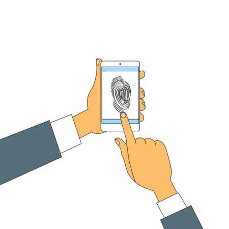 touch screen phone: Finger Print Smart Phone Access Lock, Business Man Touch Screen Fingerprint Hands Scan Security Vector Illustration