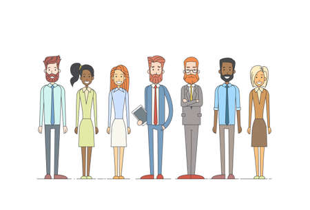 Business People Cartoon Character Set Full Length Man Woman Collection Vector Illustration