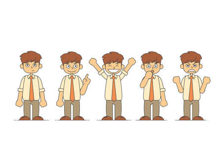 and depressed: Cartoon Business Man Emotions Set Vector Illustration