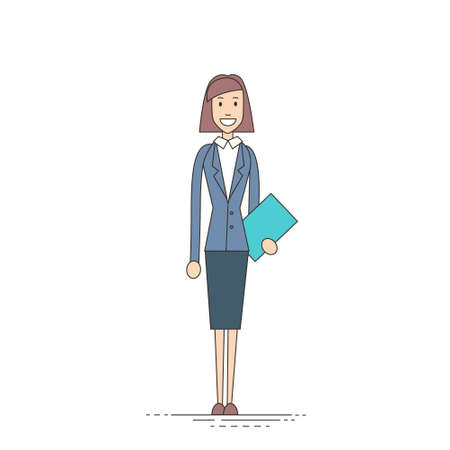 length: Businesswoman Stand Holding Documents, Business Woman Full Length Vector Illustration