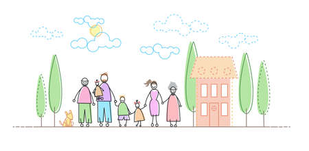 family outside house: Big Famity Grand Parents Three Kids In Front of New House Vector Illustration