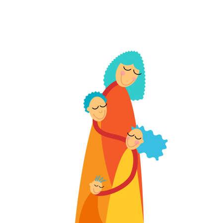 three children: Mother Three Children, Boys Girl Embrace Vector Illustration Illustration