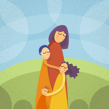 three children: Mother Three Children, Boys Girl Embrace Outdoors Vector Illustration Illustration